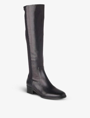 LK BENNETT Brooklyn heeled croc-embossed leather knee-high boots