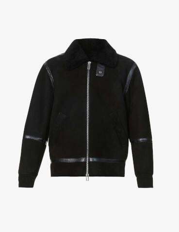 EMPORIO ARMANI Shearling and suede jacket