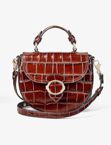 ASPINAL OF LONDON Saddle crocodile-embossed leather bag