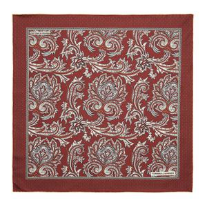 Turnbull & Asser Red Paisley Petal Print Silk Pocket Square