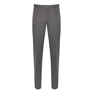 De Petrillo Grey Covert Pleated Trousers