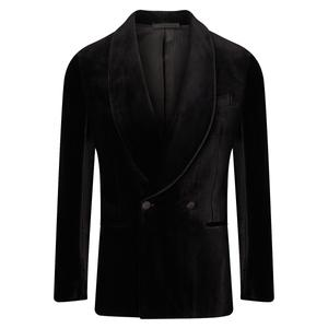 De Petrillo Black Double-Breasted Velvet Positano Dinner Jacket