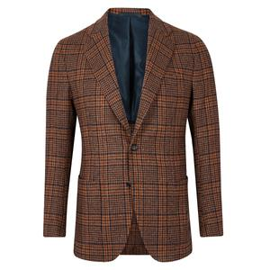 De Petrillo Brown And Blue Check Patch Pocket Jacket