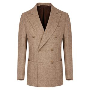 De Petrillo Double Breasted Biscuit Wool Vesuvio Jacket