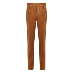 Gaiola Caramel Brown Pleated Corduroy Trousers