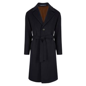 Gaiola Navy Wool and Cashmere Single Breasted Coat